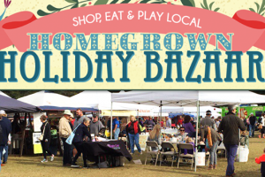 The 4th Annual Homegrown Holiday Bazaar will be held on Saturday, December 2nd from 10am-4pm at Johns Island County Park, 2662 Mullet Hall Road (location of Mullet Hall Equestrian Center). This amazing location will allow for many more vendors, plenty of free parking, and lots of beautiful space for more activities.  The Holiday Bazaar serves as the Johns Island Farmers Market for the day welcoming over 100 vendors and farmers to help you Shop Local for the holidays. Admission is FREE.  There will be plenty of fun for all ages including live local music with the V Tones from 10am-1pm, and members of Sol Drivin Train from 1pm - 4pm. Holiday crafts, bounce houses, hoola hooping, pony rides, hayrides, carriage rides, Marsh Tacky Horses, Antique Tractors, Santa